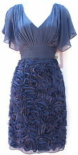 JS Collections steel blue elegant chiffon  evening occasion women dress sz 6