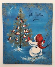 Unused Vintage Christmas Card Snowman Conductor Singing Birds Gold Tree Music