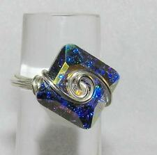 Aurora Borealis Square Crystal Sterling Silver Wire-Wrapped Ring Size 8