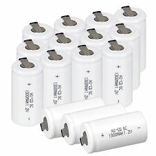 High Quality 15pcs 1.2V 1300mAh Sub C SC Ni-Cd Rechargeable Battery With Tap Set