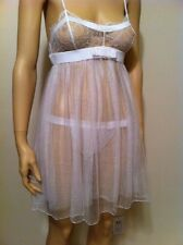 Retail $457.00 La Perla Baby Doll Night Gown Silk Tulle Size L Made in Italy NWT