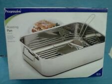 NEW Progressive International Stainless Steel ROASTING PAN Deep Dish Roast 3 pc