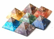 ORGONE PYRAMID REIKI ENERGY CHARGED COMPLETE CRYSTAL CHAKRA SET OF 7 HEALING