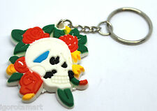 Flower Skull Head Goth Hip Hop Rubber KeyChain Keyring Key Ring