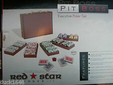Red Star Pit Boss Executive Poker Set Mahogany Finish Clay Chips New