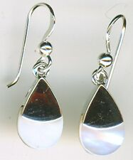 925 Sterling Silver White Mother of Pearl Small  Drop / Dangle Earrings  1.1/8""