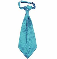 New 100% Polyester Men's Paisley Ascot Cravat Only Wedding Prom Turquoise Blue