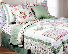 PINK ROSE Twin Single QUILT SET : GREEN GINGHAM SHABBY ROSES CHIC COMFORTER