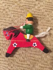 Vintage Wooden Painted Elf On A Horse Ornament 3""