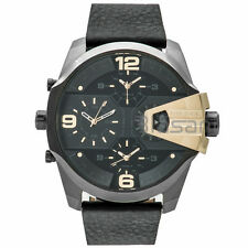 Diesel Original Men's DZ7377 Uber Chief Black Leather Strap Watch 55mm