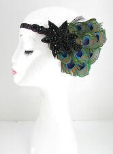 Schwarz Pfauenfeder Kopfschmuck Flapper 1920s Stirnband Kleid Glitzer Blau Y53