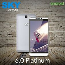 "SKY 6.0 Platinum 6"" 4G 8GB Dual Sim Unlocked Android Cellphone Silver New"