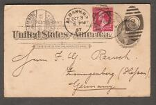 1897 Jefferson postal card uprated  Albany NY to FG Rausch Zwingenberg Germany