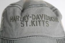 Harley-Davidson Men's Army Green Military Cap Hat St. Kitts 100% Cotton Small