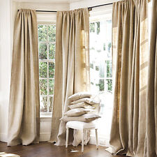 "DRAPE PANEL 2PC SET BACKDROP BURLAP HEMP JUTE CURTAIN 7ft 84"" x 60"" NATURAL"