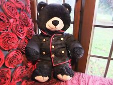 RARE HTF BUILD A BEAR ,FLUFFY BLACK TEDDY BEAR WITH GUARDSMAN SOLDIER OUTFIT VGC
