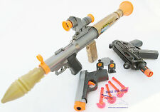 3x Toy Guns Electronic Toy Bazooka & MP5 w/ Mega Sound FX Grey 9MM Dart Pistol