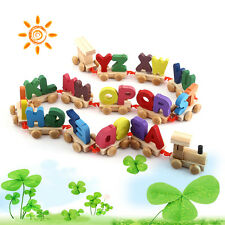 Wooden Train Set Alphabet Wood Letters Preschool Kids Toddler Educational Toy ZH