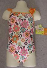 NEW Cute Orange & Pink Floral Penelope Mack $26 Swimsuit Girls -18 months  NWT