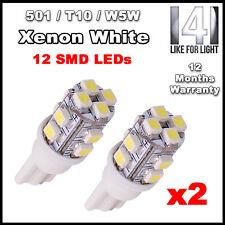 2 X 12 LED SMD White T10 W5W 501 194 168 192 Car Wedge Side Light Bulb Lamp 12V