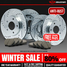 (Front+Rear) SILVER Slotted Drilled Rotors & Ceramic Pads Jeep Grand Cherokee
