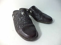 BRIGHTON STEVIE BLACK WOVEN & BROWN CROCO LEATHER CLOG MULE SHOE SZ 8M ITALY