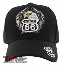 NEW! US ROUTE 66 EAGLE WING BALL CAP HAT BLACK
