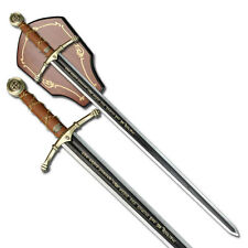 "NEW! 45"" Black & Silver Two-Handed Runic Medieval Sword w/ Display Plaque"