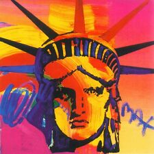 PETER MAX POSTER- LIBERTY HEAD-PINK+ REDS 12 X 12