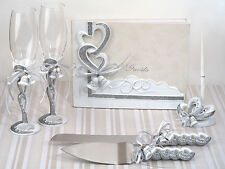 Silver Hearts Wedding Bell Guest Book Cake Server Toasting Flute Accessory Set