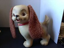 Vintage Edward Mobley Dog With Fur Ears, Working Eyes, And Squeaker