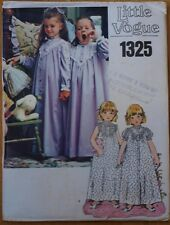 1970s VINTAGE Victorian style night dress pattern girls 4 yr LITTLE VOGUE 1325