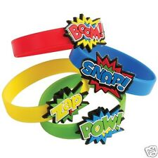 12 Superhero Rubber Bracelets Kid Party Goody Loot Bag Filler Favor Supply