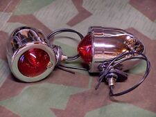 Knucklehead, Panhead, Shovelhead Dual Contact Bullet Lights. Red Lens