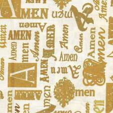BIBLE STUDY METALLIC GOLD AMEN ON CRM  Cotton Fabric BTY for Quilting, Craft Etc