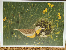 Charley Charles Harper Eastern Meadowlark  bird nest eggs Art print postcard new