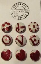 9 Red Heart Emma Bridgewater Fabric Upholstery/ Clothing/ Haberdashery Buttons