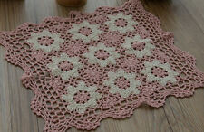 """12"""" Square Hand Crochet Lace Doily Pink Floral Table Cloth Placemat"""