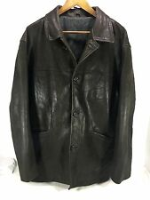 Men's Massimo Dutti Field Jacket Dark Brown leather Sz XL Spain EUC