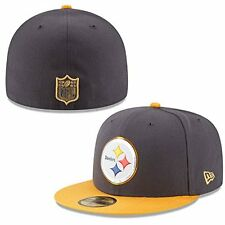NFL Pittsburgh Steelers On Field Head Gear 5950 New Era Baseball Cap Size 7 3/8