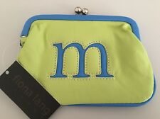 "Fiona Lang London Leather 5"" x 7.5"" Small Purse Cosmetic Bag w/ Letter M initial"