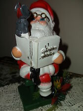 VINTAGE SANTA CLAUS ON SEAT READING BOOK TO MOUSE PLASTIC