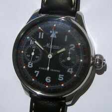 Rare Big Military Chronograph MINERVA Swiss Wristwatch Steel Case Aviator Pilots