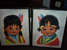 vintage paintings on canvas by M. Riley Indian boy and girl set of 2 14 x 11