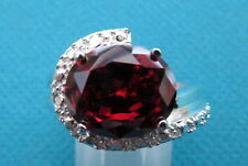 925 Sterling Silver Ring With Oval Cut Garnet UK Q, US 8  (rg0628)