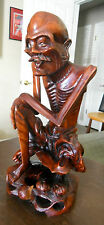 "1940's JAPANESE HAND CARVED 11"" STATUE WOOD OLD MAN Bones Showing Japan"