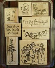 Stampin' Up FLAKY FRIENDS Set of 8 Christmas Rubber Stamps Lot Holiday Snowman