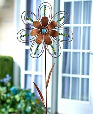 BEADED FLOWER METAL WIND SPINNER WHIRLIGIG PINWHEEL GARDEN OUTDOOR HOME DECOR