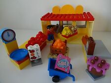 Lego Duplo -SUPERMARKET / SHOP - Till + Figure, Food Bricks, Scales, Trolley +