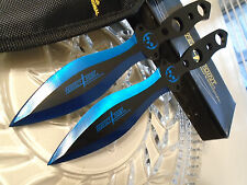 """Perfect Point Pro Blue Titanium Skull Double 2 Pc Throwing Knife Set 5mm Tang 9"""""""